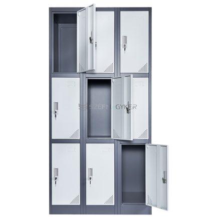Artemisz® Rövid ajtós öltözőszekrénye 9-rekeszes kivitel-Sérült