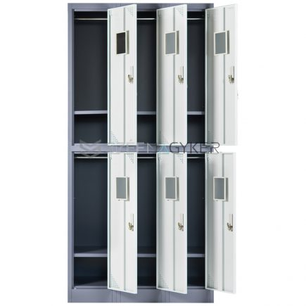 Artemisz® Rövid ajtós öltözőszekrénye 6-rekeszes kivitel-Sérült